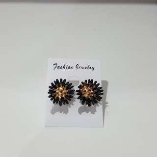 Black spark earrings