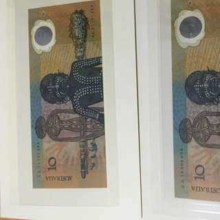 World first polymer banknotes AUSTRALIA 10 dollars x2