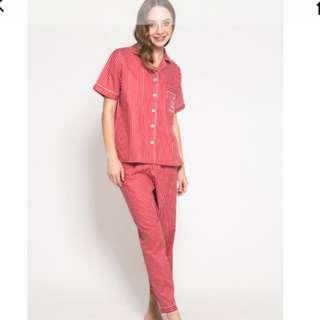 Pajama dreams salur merah panjang