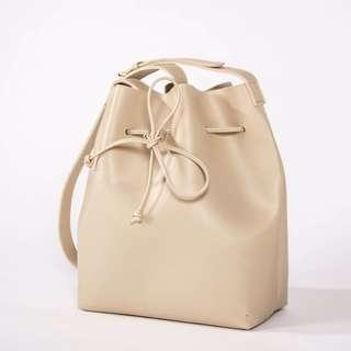 BEIGE Vegan Leather Bucket Bag