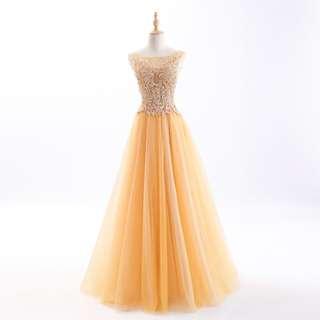 Pre order gold white diamond dress prom wedding bridal gown  RBP0711