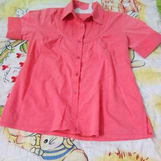 Blouse wanita warna merah jambu