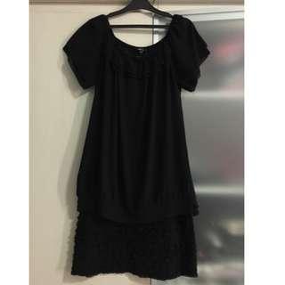 Black two-piece ruffle dress