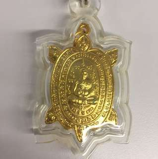 Thai Amulet LP Liew Wealth Turtle 2540 with clear casing, ready to wear!