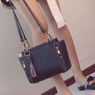 Instock Cow Leather Sling Bag (Black)
