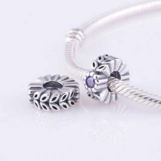 Code SS742 - Purple Cz Leaf 100% 925 Sterling Silver Charm, Chain Is Not Included, Compatible With Pandora