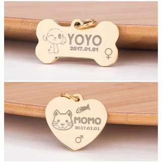訂製 狗狗貓咪金屬刻字名牌項鍊 飾物