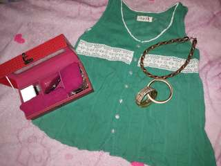 Green Top with Lace Details