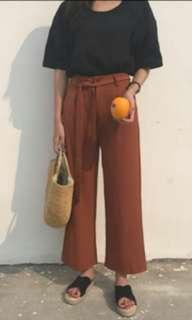 High Waist Sash Straight Cut Culottes (Rust)