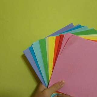 rainbow coloured origami paper // plain colour paper