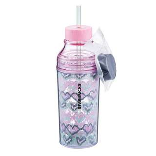 Starbucks® 16oz Heart Water Bottle Dual Lid With Straw