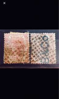 Straits Queen Victoria stamps 2v Used