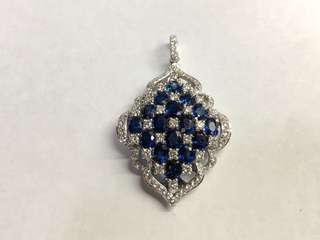 18K藍寶鑲鑽石吊墜
