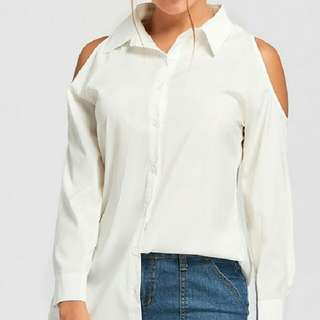 Beverly Hills Polo Club Open / Cold Shoulders Button down Blouse Shirt
