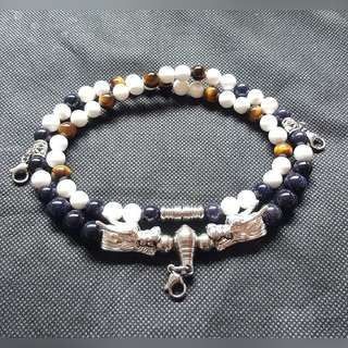 Sold - Nice quality White Onyx beads,  Blue Sandstone beads & Tiger Eye beads with 2 Silver Plated Dragon Head 4 Hooks Necklace