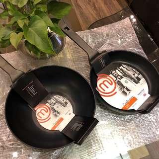 Master Chef 26cm fry pan and 30cm stir fry pan
