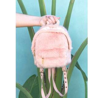 Forever21 pink fur backpack