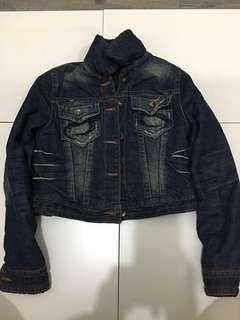 Denim coat with artificial wool