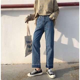 寬鬆闊腿漸層牛仔褲 L號