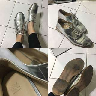 Zara銀色牛津鞋 37號