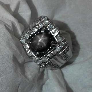 Natural Black Sapphire Star Six Ray Ring Perak Murni Zircon