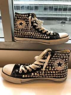 Black Converse shoes. All Star. Studs shoes