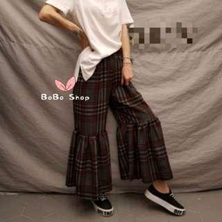 📸實拍🇰🇷韓國格仔紋橡筋腰喇叭褲👖2色