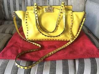 Authentic Valentino Rockstud Yellow Tote- Small