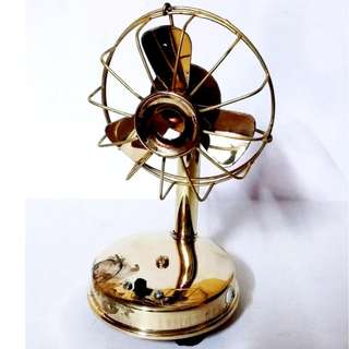 Miniature Brass Fan with LED light for home decor purpose