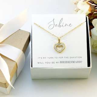 Heart Necklace with rhinestones - Bridesmaid Gift