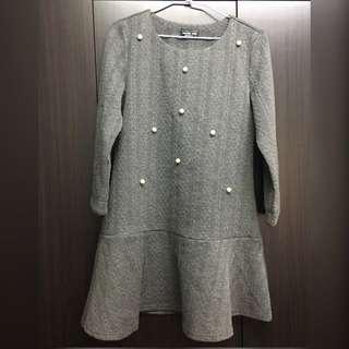 🚚 灰色質感珍珠洋裝(9分袖)