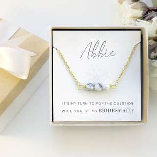 Marble Howlite Pendant in Stainless steel chain - Bridesmaid Gift