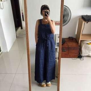 日本帶回棉麻連身寬褲