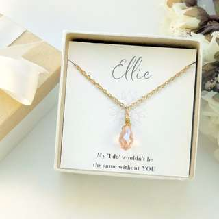 Blush Crystal Teardrop Necklace - Bridesmaid Gift