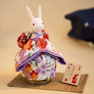日本清水寺月亮和服兔音樂盒