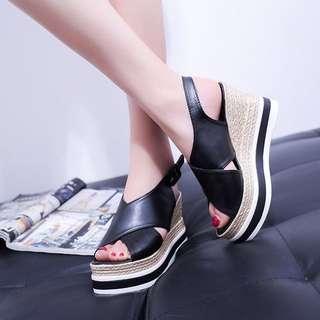High heel platform Shoe wedge; sandals; Korean Kpop jpop ulzzang summer style trend; formal casual office work; woman women lady ladies female girls;