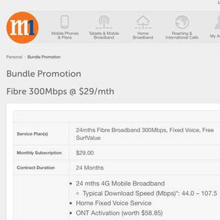 M1 Fibre Broadband 300 mbps Home line 2 year contract for Carry on payment