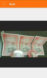 Malaya RM10 old notes X 3pcs