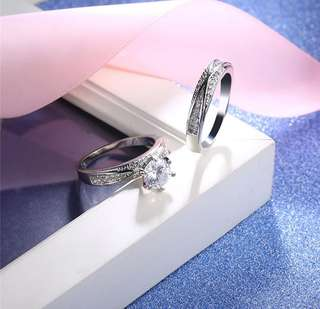 Diamond Ring Platinum plating (2pc for engagement and proposal)