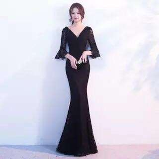 Evening Gown dinner gown black lace slim