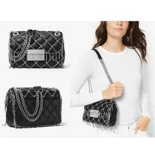 [全球限量1250個] 明星大熱款式 全新正品Michael Kors Sloan Tango Small Quilted Leather Shoulder Bag 閃鑽經典女裝 菱格紋 小羊皮真皮 手袋 名牌 禮物
