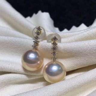 100%天然淡水珍珠7.5-8mm 18k配件耳環