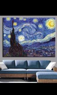 In stock Starry night canvas painting