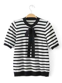Bow Stripe Knit Blouse 19869