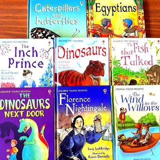 8 for $25: USBORNE Series for Children ~ (A) BEGINNERS: Caterpillars and Butterflies, Egyptians; (B) FIRST READING: Dinosaurs, The Inch Prince, The Fish that Talked; (C) YOUNG READING: The Dinosaurs Next Door, The Wind in the Willows, Florence Nightingale