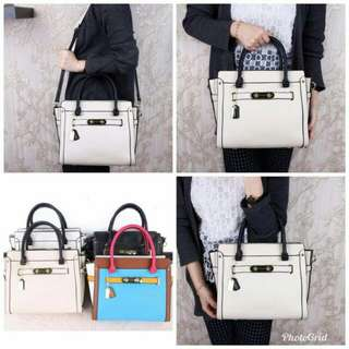 C**CH Swagger Carryall 3 Tone Large Handbags 6312  (18)*