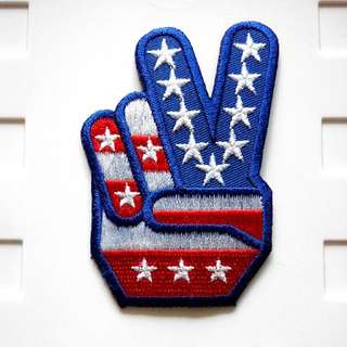 Victory V Sign Love Peace Vintage USA Iron On Patch