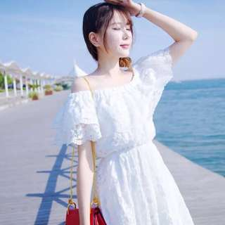 White Lace Off Shoulder Dress; Gown; elegant classy trendy princess; Korean Kpop ulzzang jpop; formal casual work office; woman women female girl lady ladies;