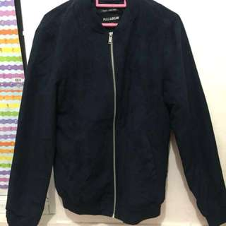 Faux Suede Bomber Jacket Navy - Pull&Bear. NEW!