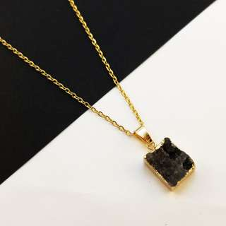 Geode Druzy Agate Necklace - Black